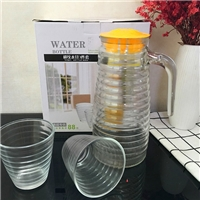 玻璃冷水壶横纹玻璃瓶果汁瓶
