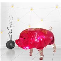 精美萌萌小猪酒瓶   高硼硅玻璃瓶