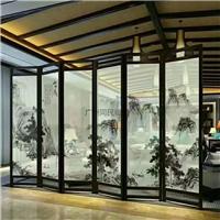 夾山水畫玻璃 裝飾隔斷山水畫玻璃