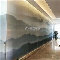 夾山水畫玻璃 酒店大堂隔斷屏風夾絲玻璃