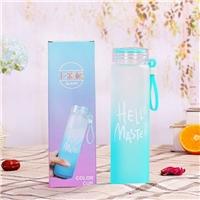 玻璃水杯七彩創意玻璃杯情侶杯便攜式水杯