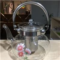 耐高温玻璃茶水分离泡茶壶过滤不锈钢手柄