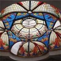圆博玻璃彩色玻璃穹顶彩绘玻璃穹顶穹顶生产厂家