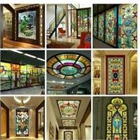 家裝吊頂彩窗教堂鋼化玻璃