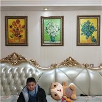 梵高装饰沙发背景墙三联幅冰晶画