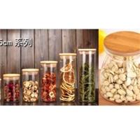 惠州采购-竹盖透明玻璃储物罐