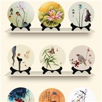 创意雕刻玻璃工艺品圆盘摆件