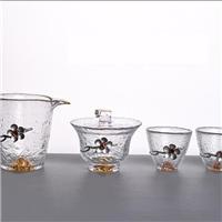 美璃镶锡梅花金山玻璃茶具套装