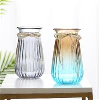 簡約透明玻璃花瓶漸變色桌面裝飾瓶插花瓶