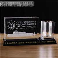 水晶内雕退役纪念品 部队退伍礼品  荣休摆件