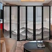 夹山水画玻璃 酒店大堂隔断屏风夹丝玻璃