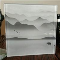 山水畫夾絲玻璃