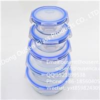 圆形厂家直销 高硼硅透明耐热玻璃保鲜盒 带密封盖