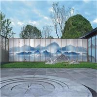 夾山水畫玻璃 售樓部山水畫玻璃 屏風山水畫玻璃