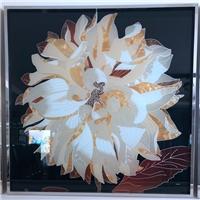 珐琅彩艺术玻璃厂家定制手工绘画玻璃屏风