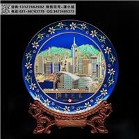 水晶彩雕手绘家居摆式 城市纪念品 旅游纪念盘