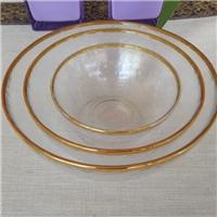 手工金边玻璃餐具透明玻璃餐盘家用碗盘碟冷纹玻璃碗