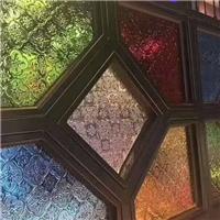 壓花玻璃-彩色海棠,綠銀波