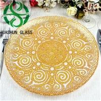 彩色电镀玻璃盘 果盘 装饰盘 玻璃盘子 婚庆宴会用盘子