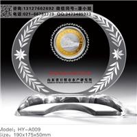 周年紀念幣水晶擺件 公司周年水晶獎牌