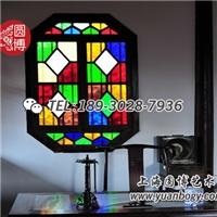 艺术彩绘玻璃花窗彩色中式彩窗