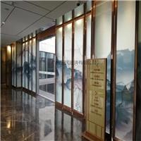 广州夹山水画玻璃 楼房售卖部屏风山水画玻璃