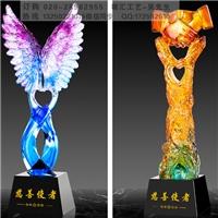 廣州琉璃獎杯定做 愛心助學獎杯 感動人物獎杯 獎牌