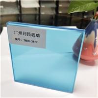 同民钢化夹胶玻璃厂加工5 5彩色玻璃 彩色透明钢化玻璃 蓝色玻璃