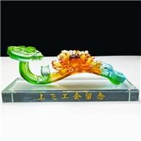 廣州琉璃工藝品  琉璃如意擺件 工會成立周年紀念品