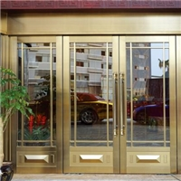 仿铜四开玻璃门 超市商场办公楼专项使用仿铜镀铜玻璃门