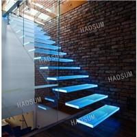 旋转玻璃楼梯 发光LED灯悬浮玻璃楼梯 KTV会所旋转楼梯