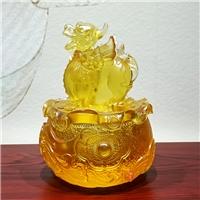 古法琉璃貔貅聚宝盆摆件 广州琉璃风水摆件工艺品 貔貅