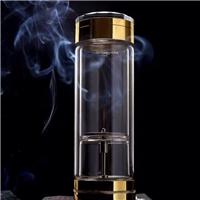 西安镀银玻璃杯,茶水分离茶杯定制logo