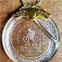 西安水晶奖牌彩印照片 挂脖子水晶牌